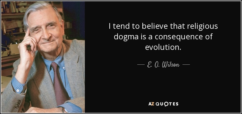 I tend to believe that religious dogma is a consequence of evolution. - E. O. Wilson