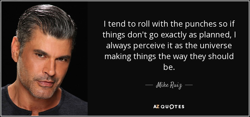 Mike Ruiz Quote I Tend To Roll With The Punches So If Things