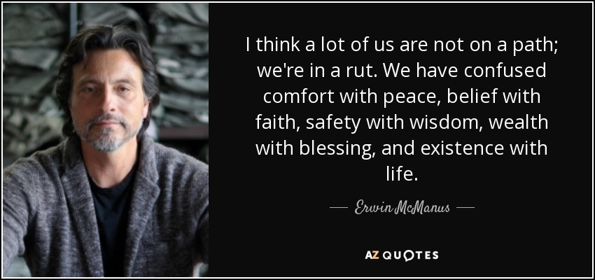 I think a lot of us are not on a path; we're in a rut. We have confused comfort with peace, belief with faith, safety with wisdom, wealth with blessing, and existence with life. - Erwin McManus