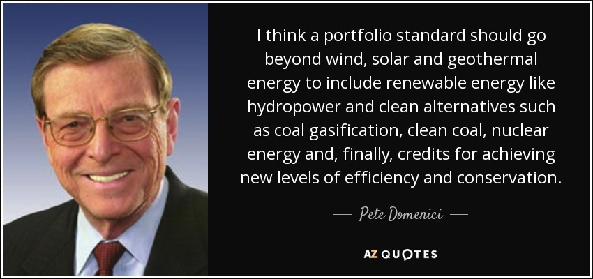 I think a portfolio standard should go beyond wind, solar and geothermal energy to include renewable energy like hydropower and clean alternatives such as coal gasification, clean coal, nuclear energy and, finally, credits for achieving new levels of efficiency and conservation. - Pete Domenici