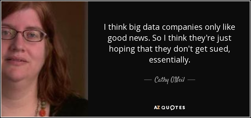 I think big data companies only like good news. So I think they're just hoping that they don't get sued, essentially. - Cathy O'Neil