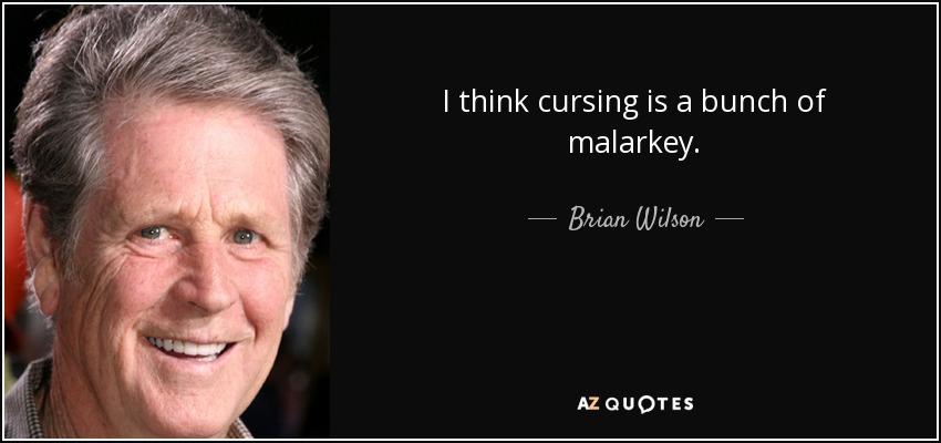 I think cursing is a bunch of malarkey. - Brian Wilson