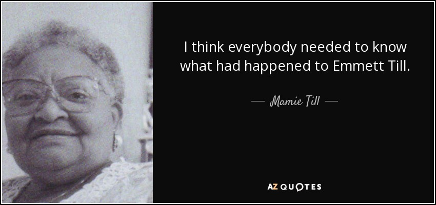 emmett till essay questions Murder of emmett till this inquiry leads students through an examination of whether there is a time limit on pursuing justice in decades-old civil rights-era lynching cases.