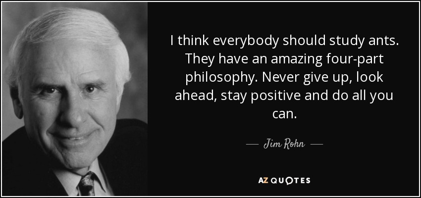 I think everybody should study ants. They have an amazing four-part philosophy. Never give up, look ahead, stay positive and do all you can. - Jim Rohn
