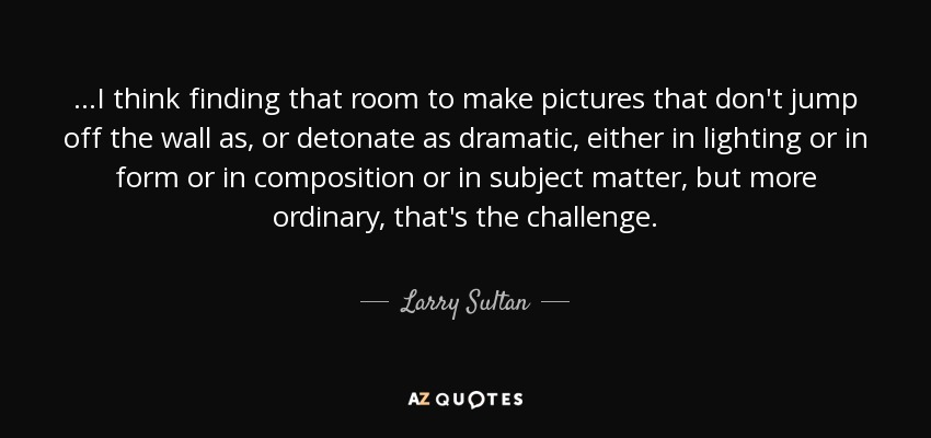 ...I think finding that room to make pictures that don't jump off the wall as, or detonate as dramatic, either in lighting or in form or in composition or in subject matter, but more ordinary, that's the challenge. - Larry Sultan