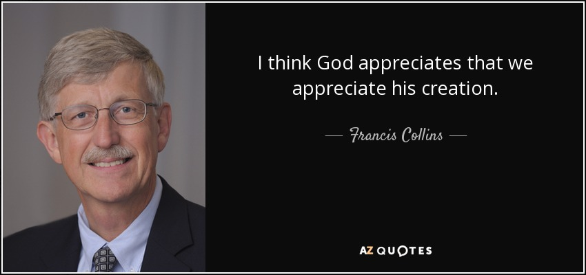 I think God appreciates that we appreciate his creation. - Francis Collins