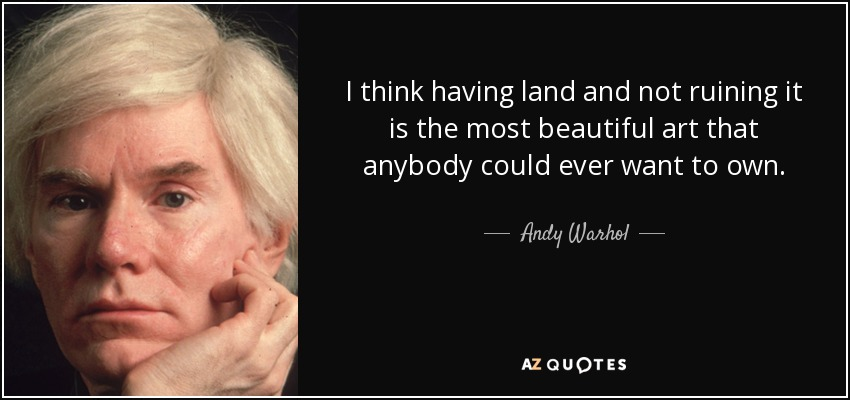 I think having land and not ruining it is the most beautiful art that anybody could ever want to own. - Andy Warhol