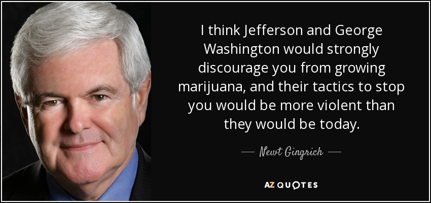 I think Jefferson and George Washington would strongly discourage you from growing marijuana, and their tactics to stop you would be more violent than they would be today. - Newt Gingrich