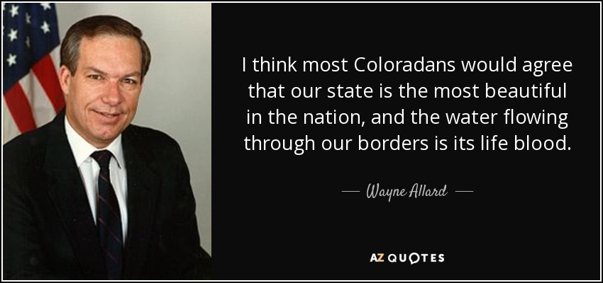 I think most Coloradans would agree that our state is the most beautiful in the nation, and the water flowing through our borders is its life blood. - Wayne Allard