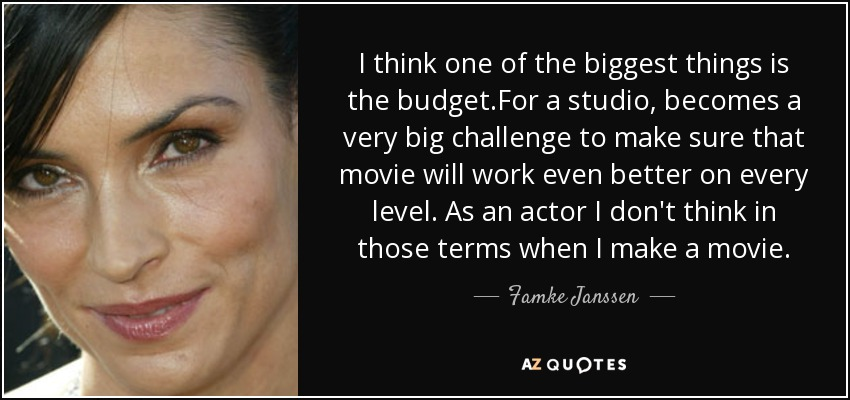 I think one of the biggest things is the budget.For a studio, becomes a very big challenge to make sure that movie will work even better on every level. As an actor I don't think in those terms when I make a movie. - Famke Janssen