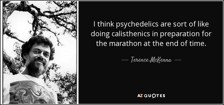 I think psychedelics are sort of like doing calisthenics in preparation for the marathon at the end of time. - Terence McKenna