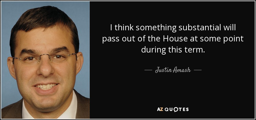 I think something substantial will pass out of the House at some point during this term. - Justin Amash