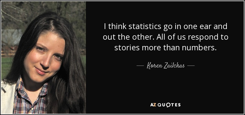I think statistics go in one ear and out the other. All of us respond to stories more than numbers. - Koren Zailckas