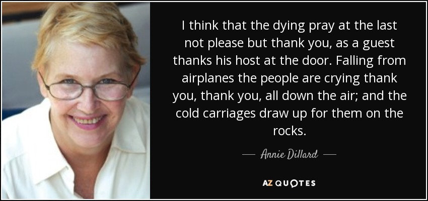 I think that the dying pray at the last not please but thank you, as a guest thanks his host at the door. Falling from airplanes the people are crying thank you, thank you, all down the air; and the cold carriages draw up for them on the rocks. - Annie Dillard