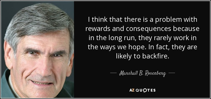 I think that there is a problem with rewards and consequences because in the long run, they rarely work in the ways we hope. In fact, they are likely to backfire. - Marshall B. Rosenberg