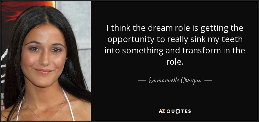 I think the dream role is getting the opportunity to really sink my teeth into something and transform in the role. - Emmanuelle Chriqui