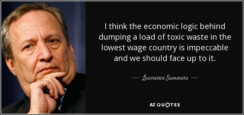 I think the economic logic behind dumping a load of toxic waste in the lowest wage country is impeccable and we should face up to it. - Lawrence Summers