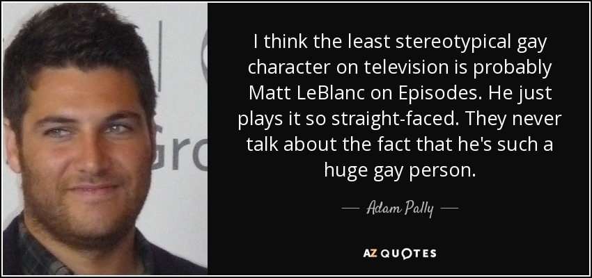 I think the least stereotypical gay character on television is probably Matt LeBlanc on Episodes. He just plays it so straight-faced. They never talk about the fact that he's such a huge gay person. - Adam Pally