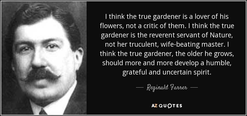 I think the true gardener is a lover of his flowers, not a critic of them. I think the true gardener is the reverent servant of Nature, not her truculent, wife-beating master. I think the true gardener, the older he grows, should more and more develop a humble, grateful and uncertain spirit. - Reginald Farrer