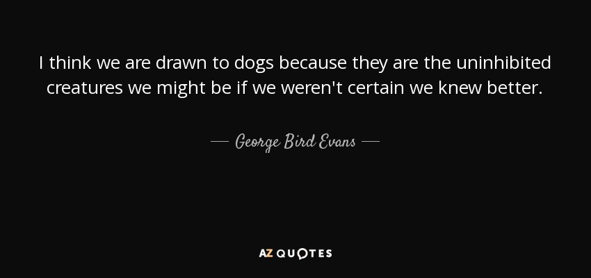 I think we are drawn to dogs because they are the uninhibited creatures we might be if we weren't certain we knew better. - George Bird Evans