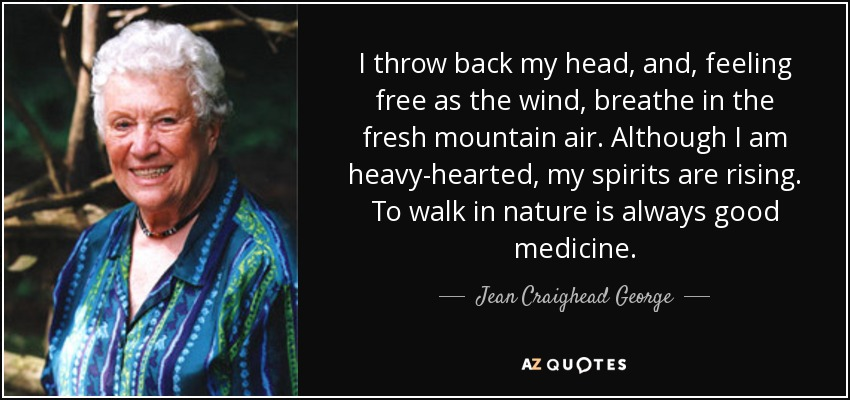 I throw back my head, and, feeling free as the wind, breathe in the fresh mountain air. Although I am heavy-hearted, my spirits are rising. To walk in nature is always good medicine. - Jean Craighead George