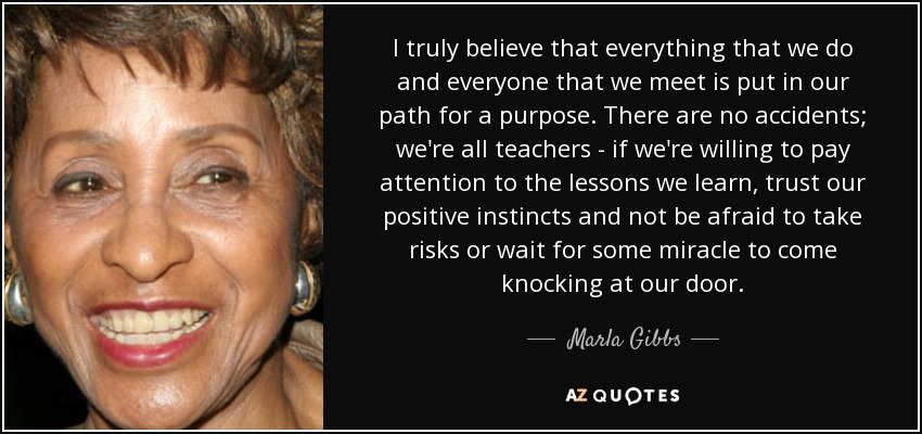 I truly believe that everything that we do and everyone that we meet is put in our path for a purpose. There are no accidents; we're all teachers - if we're willing to pay attention to the lessons we learn, trust our positive instincts and not be afraid to take risks or wait for some miracle to come knocking at our door. - Marla Gibbs