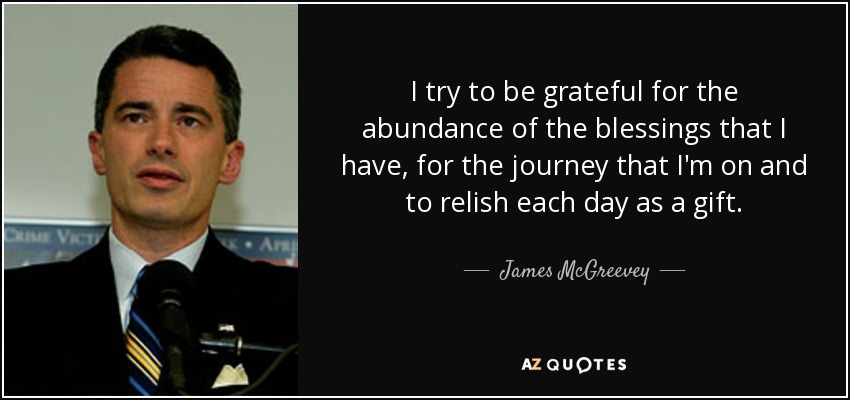 I try to be grateful for the abundance of the blessings that I have, for the journey that I'm on and to relish each day as a gift. - James McGreevey