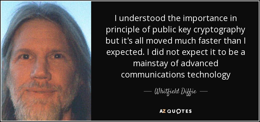I understood the importance in principle of public key cryptography but it's all moved much faster than I expected. I did not expect it to be a mainstay of advanced communications technology - Whitfield Diffie