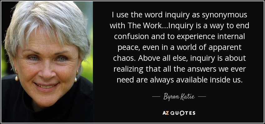 I use the word inquiry as synonymous with The Work...Inquiry is a way to end confusion and to experience internal peace, even in a world of apparent chaos. Above all else, inquiry is about realizing that all the answers we ever need are always available inside us. - Byron Katie
