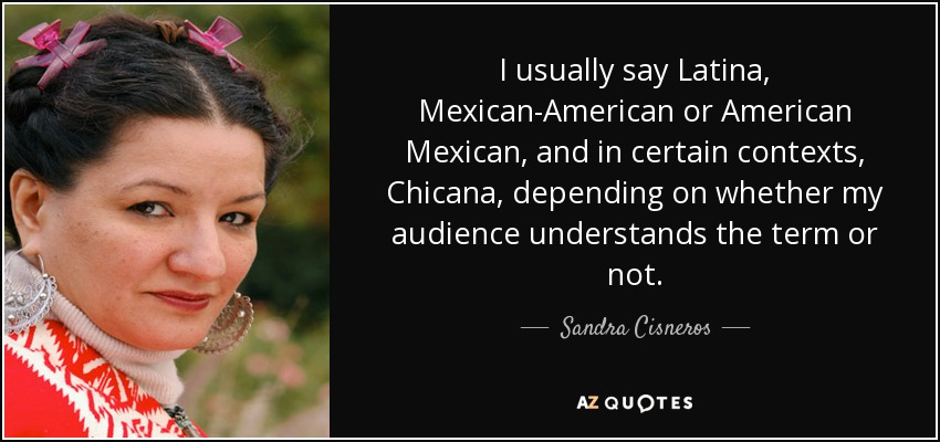 I usually say Latina, Mexican-American or American Mexican, and in certain contexts, Chicana, depending on whether my audience understands the term or not. - Sandra Cisneros