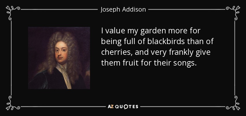I value my garden more for being full of blackbirds than of cherries, and very frankly give them fruit for their songs. - Joseph Addison