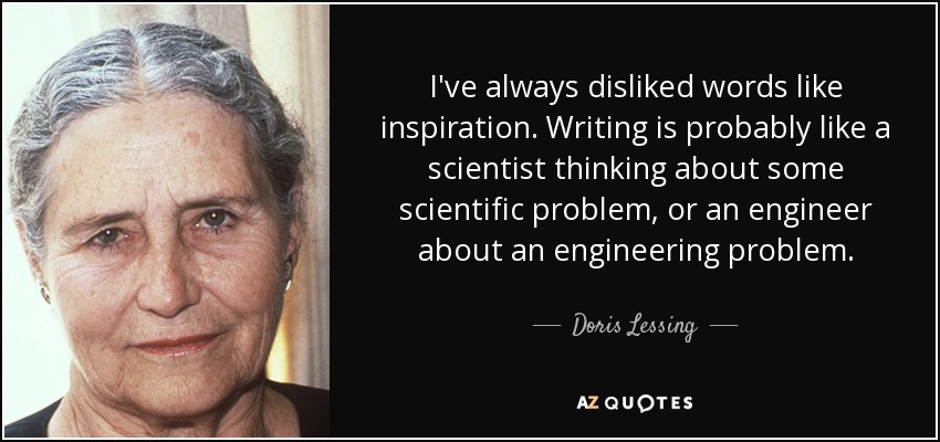I've always disliked words like inspiration. Writing is probably like a scientist thinking about some scientific problem, or an engineer about an engineering problem. - Doris Lessing
