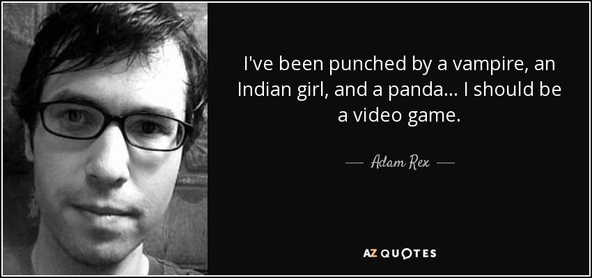 I've been punched by a vampire, an Indian girl, and a panda... I should be a video game. - Adam Rex