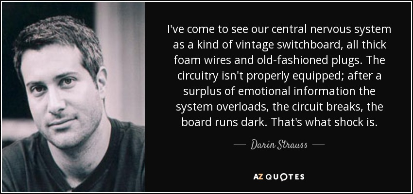I've come to see our central nervous system as a kind of vintage switchboard, all thick foam wires and old-fashioned plugs. The circuitry isn't properly equipped; after a surplus of emotional information the system overloads, the circuit breaks, the board runs dark. That's what shock is. - Darin Strauss