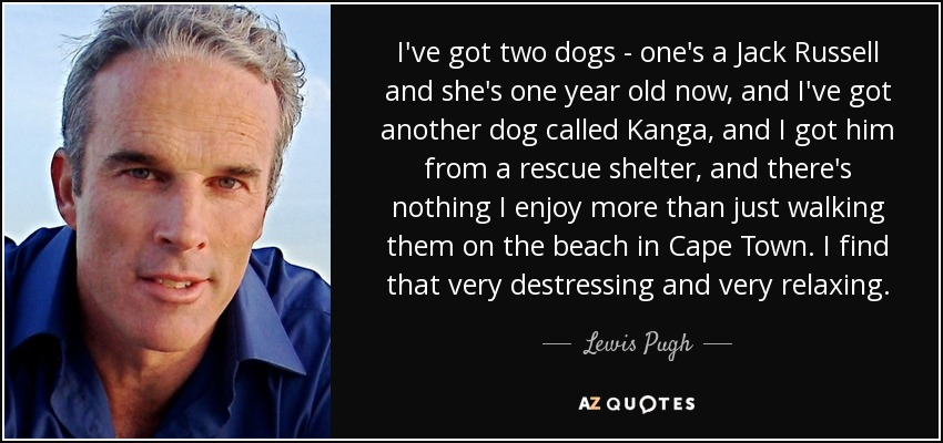 I've got two dogs - one's a Jack Russell and she's one year old now, and I've got another dog called Kanga, and I got him from a rescue shelter, and there's nothing I enjoy more than just walking them on the beach in Cape Town. I find that very destressing and very relaxing. - Lewis Pugh