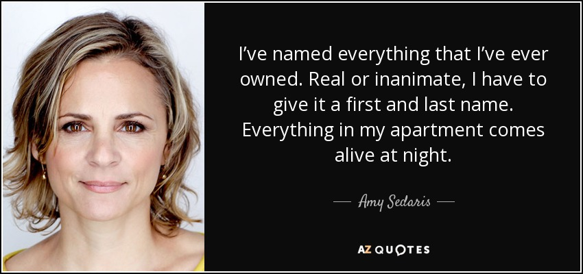 I've named everything that I've ever owned. Real or inanimate, I have to give it a first and last name. Everything in my apartment comes alive at night. - Amy Sedaris