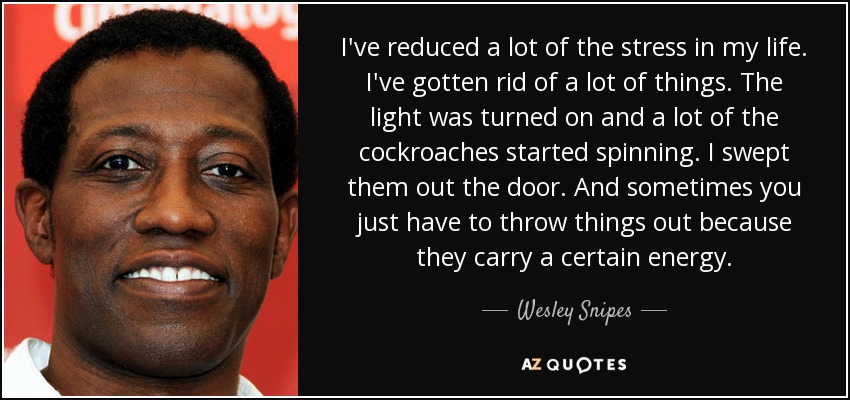I've reduced a lot of the stress in my life. I've gotten rid of a lot of things. The light was turned on and a lot of the cockroaches started spinning. I swept them out the door. And sometimes you just have to throw things out because they carry a certain energy. - Wesley Snipes