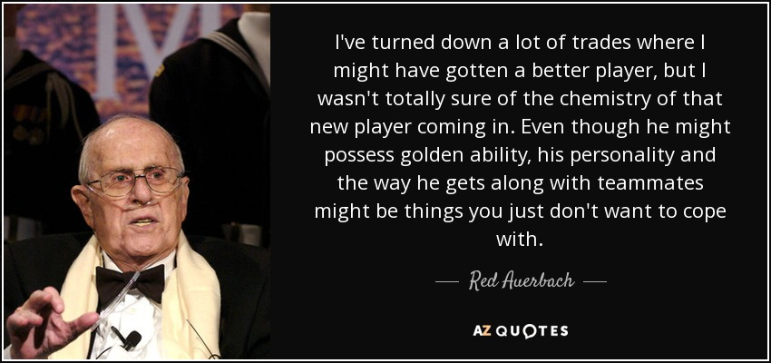 I've turned down a lot of trades where I might have gotten a better player, but I wasn't totally sure of the chemistry of that new player coming in. Even though he might possess golden ability, his personality and the way he gets along with teammates might be things you just don't want to cope with. - Red Auerbach