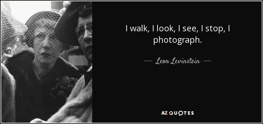 I walk, I look, I see, I stop, I photograph. - Leon Levinstein