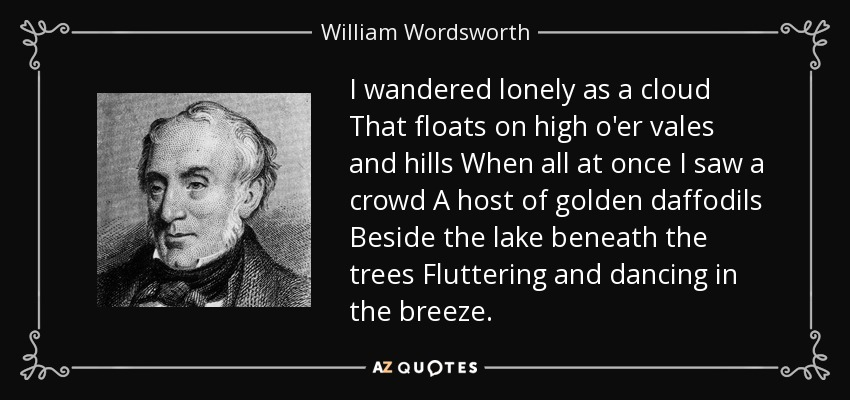 I wandered lonely as a cloud That floats on high o'er vales and hills When all at once I saw a crowd A host of golden daffodils Beside the lake beneath the trees Fluttering and dancing in the breeze. - William Wordsworth