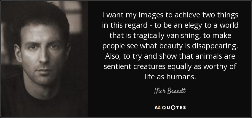I want my images to achieve two things in this regard - to be an elegy to a world that is tragically vanishing, to make people see what beauty is disappearing. Also, to try and show that animals are sentient creatures equally as worthy of life as humans. - Nick Brandt