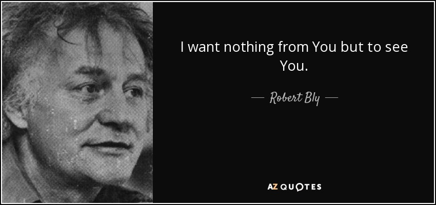 I want nothing from You but to see You. - Robert Bly