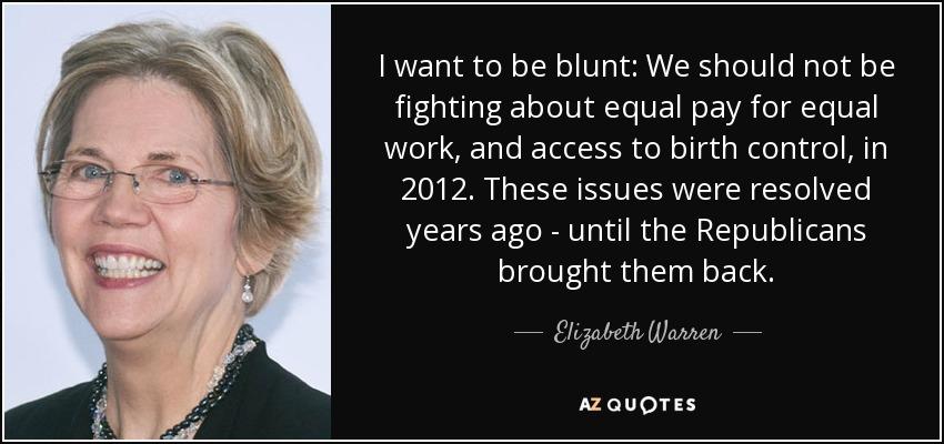 Image result for elizabeth warren equal pay