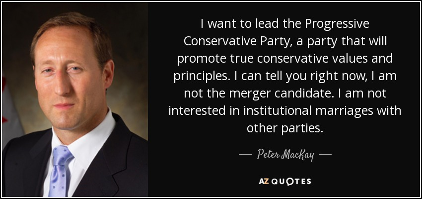 I want to lead the Progressive Conservative Party, a party that will promote true conservative values and principles. I can tell you right now, I am not the merger candidate. I am not interested in institutional marriages with other parties. - Peter MacKay