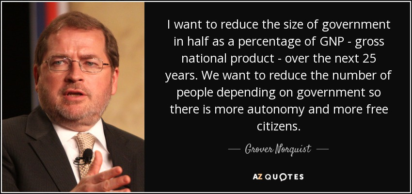 I want to reduce the size of government in half as a percentage of GNP - gross national product - over the next 25 years. We want to reduce the number of people depending on government so there is more autonomy and more free citizens. - Grover Norquist