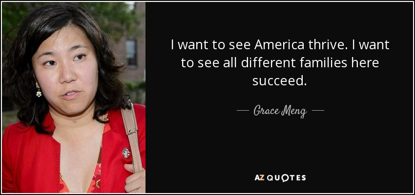 I want to see America thrive. I want to see all different families here succeed. - Grace Meng