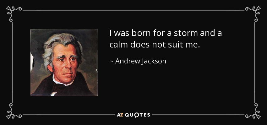 I was born for a storm and a calm does not suit me. - Andrew Jackson