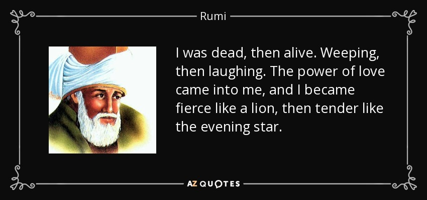 I was dead, then alive. Weeping, then laughing. The power of love came into me, and I became fierce like a lion, then tender like the evening star. - Rumi