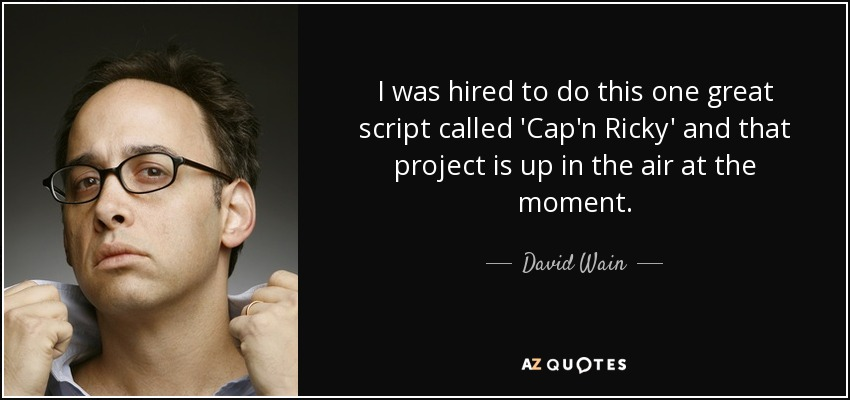 I was hired to do this one great script called 'Cap'n Ricky' and that project is up in the air at the moment. - David Wain