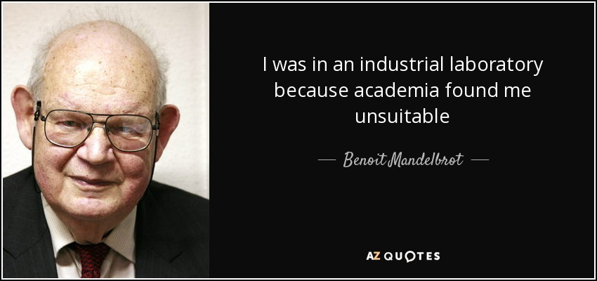 I was in an industrial laboratory because academia found me unsuitable - Benoit Mandelbrot